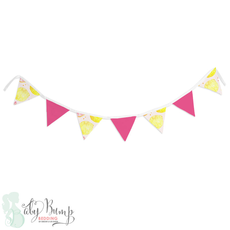 Watercolor Pink Lemonade Wall Fabric Pennant Banner