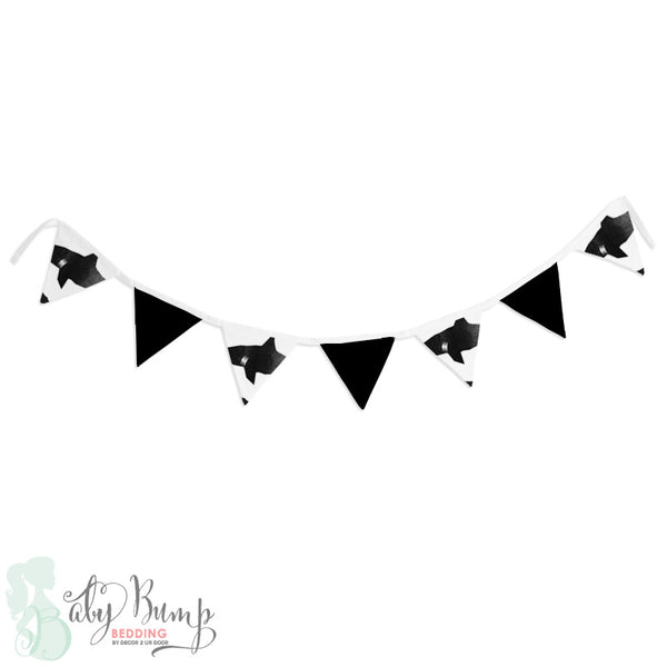 Black & White Shark Attack Wall Fabric Pennant Banner