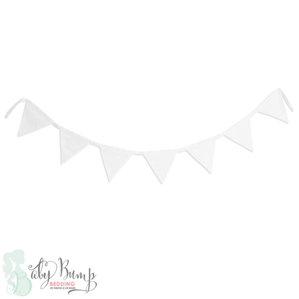 Solid White Wall Fabric Pennant Banner