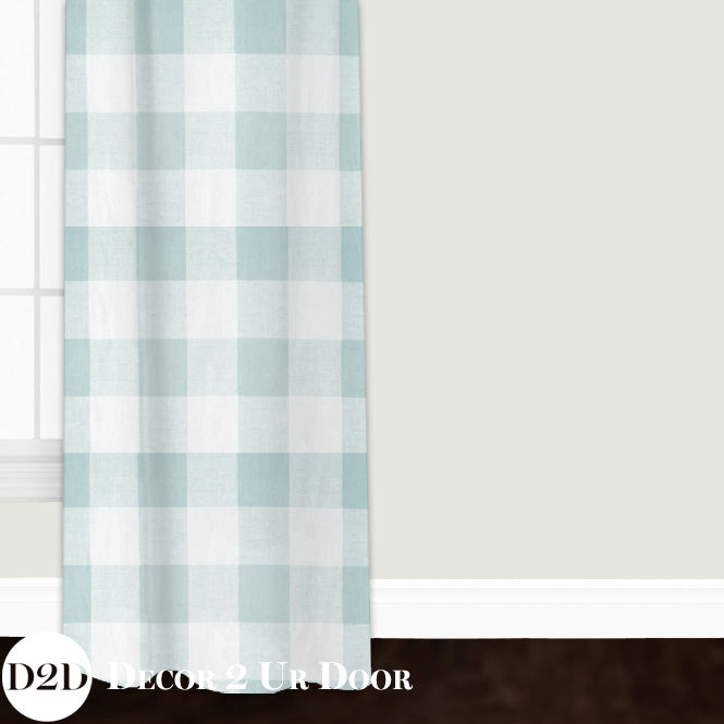 Spa Blue Gingham Plaid Custom Window Curtain/Closet Panel
