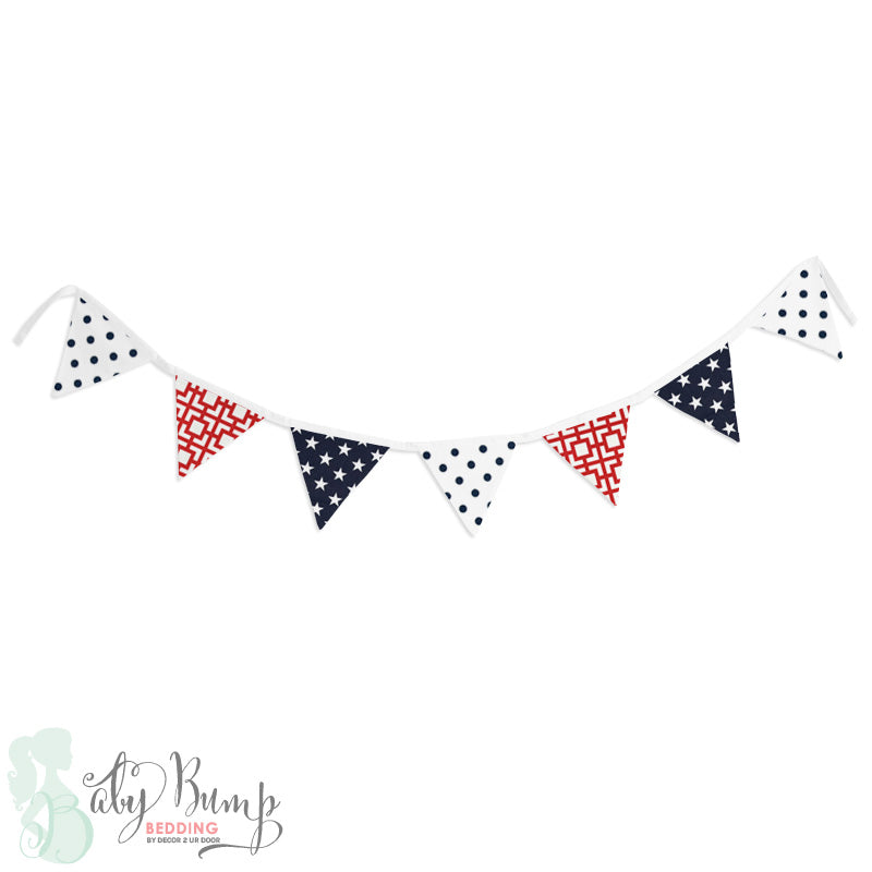 Stars & Stripes Americana Wall Fabric Pennant Banner