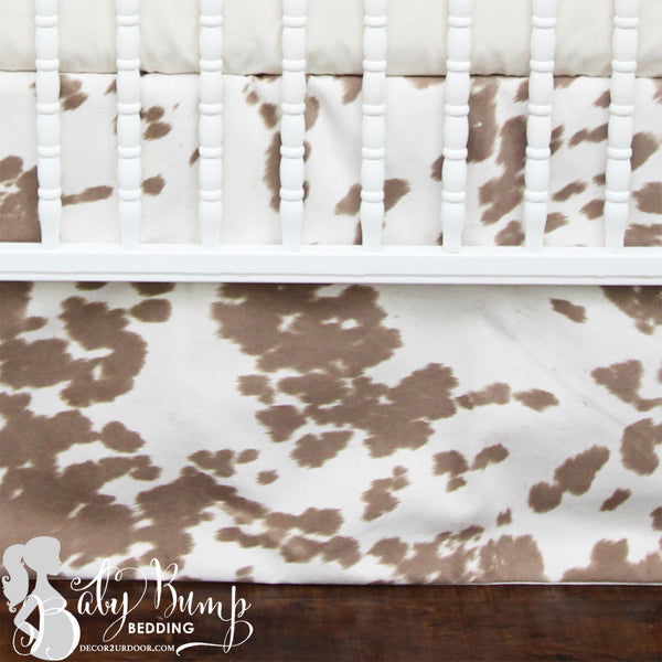 Tan Cowhide Baby Crib Skirt
