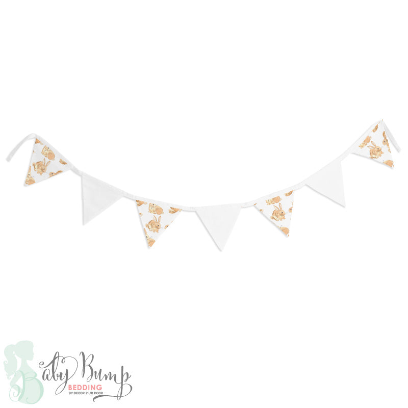 Watercolor Bunny Wall Fabric Pennant Banner