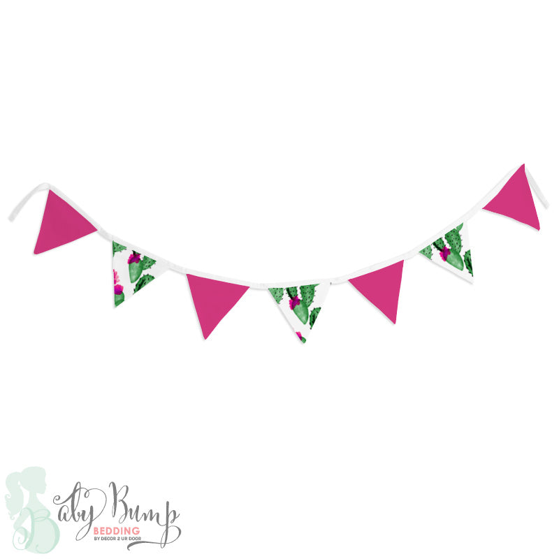 Watercolor Cactus and Hot Pink Wall Fabric Pennant Banner