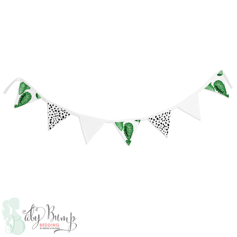 Watercolor Cactus Wall Fabric Pennant Banner