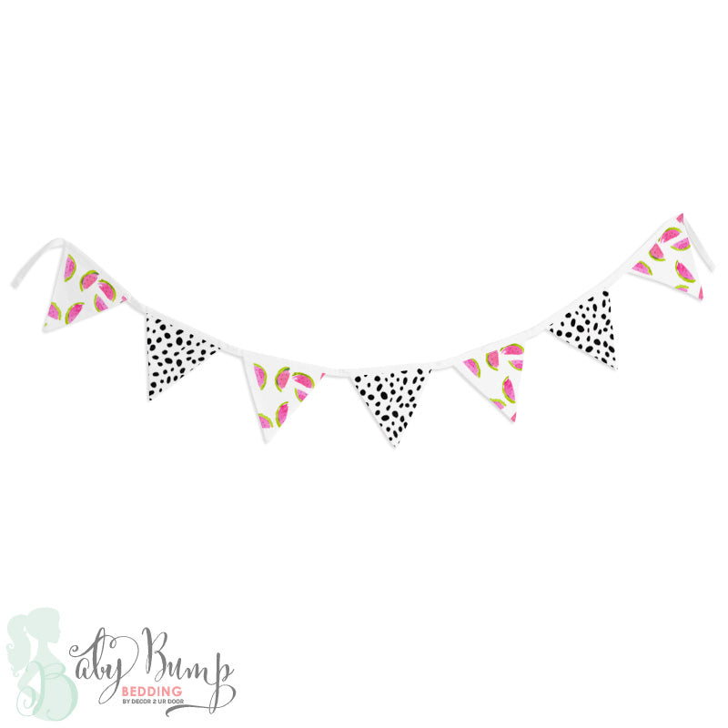 Watercolor Watermelon Wall Fabric Pennant Banner