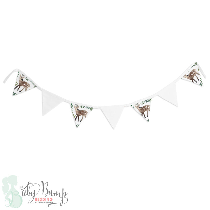 Watercolor Woodland Deer Wall Fabric Pennant Banner