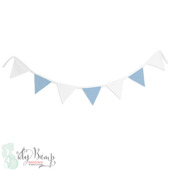 White & Baby Blue Wall Fabric Pennant Banner