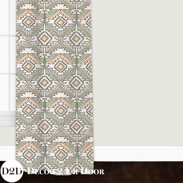 Aztec Peach & Green Closet + Window Curtain