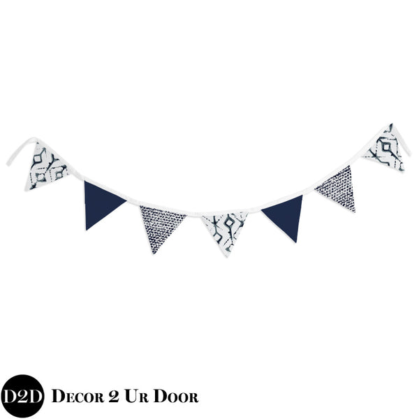 Navy & White Tribal Wall Fabric Pennant Banner