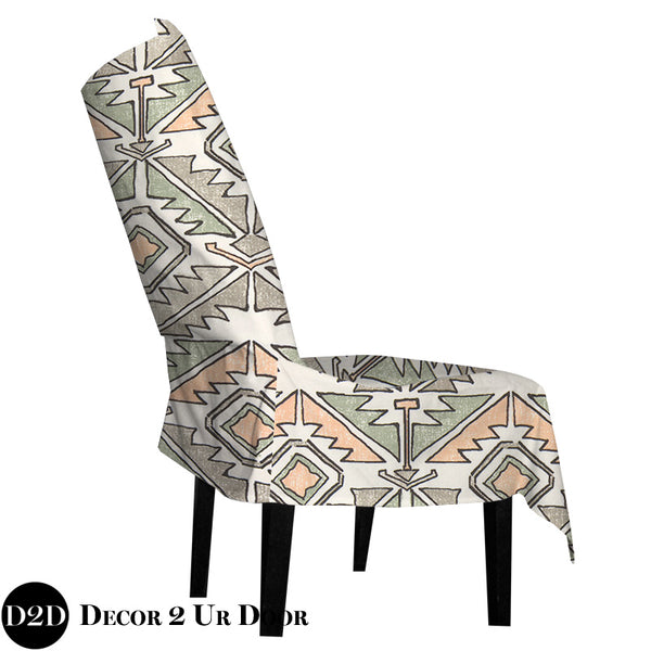 Aztec Peach & Green Dorm Chair Cover with Storage Pocket