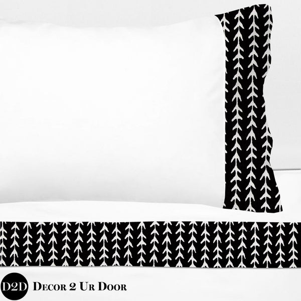 Black Geo Vine Print 100% Cotton Banded Sheet Set