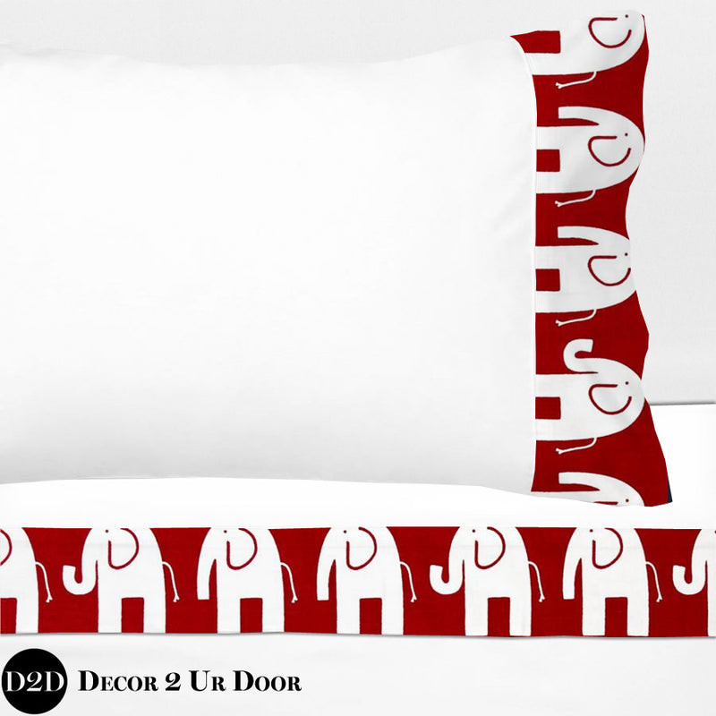 Crimson Red Elephant Print 100% Cotton Banded Sheet Set