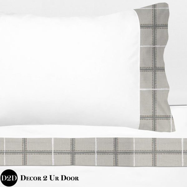 Grey Plaid 100% Cotton Banded Sheet Set
