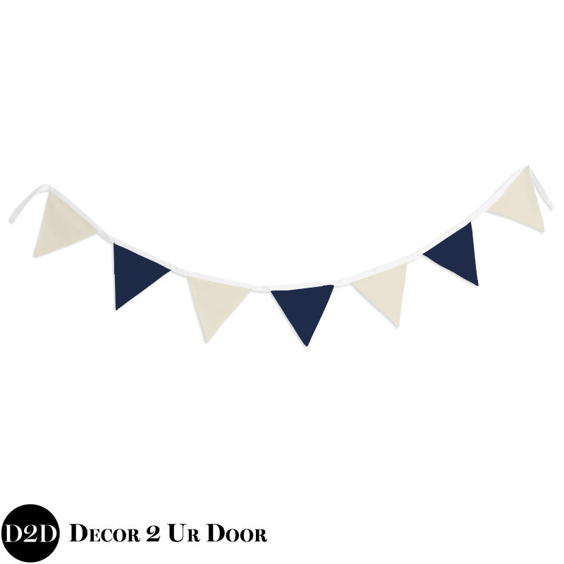 Ivory Linen & Navy Wall Fabric Pennant Banner