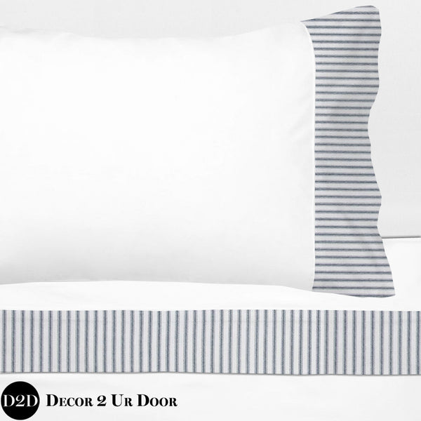 Navy Ticking Stripes 100% Cotton Banded Sheet Set