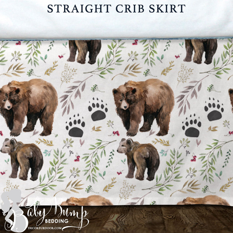 Adventure Woodland Bear Cub Baby Crib Skirt