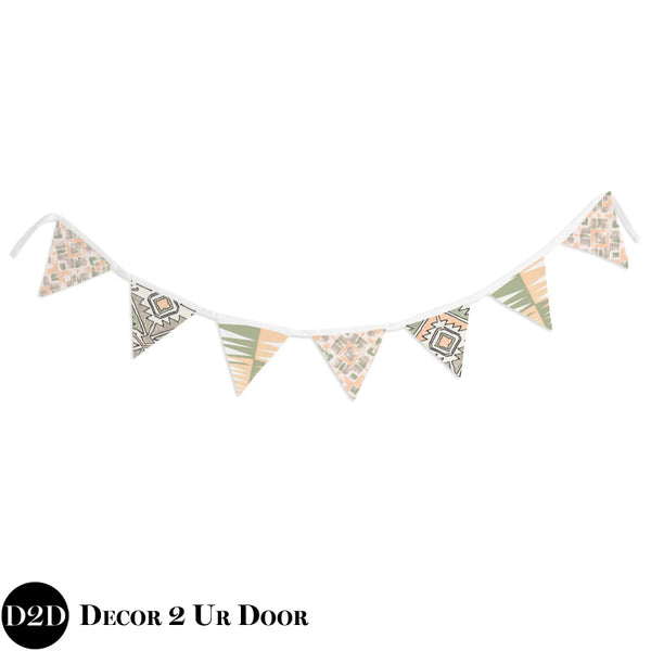 Peach & Green Cactus Wall Fabric Pennant Banner