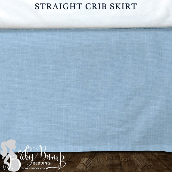 Baby Blue & White Linen Baby Crib Skirt