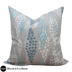 Blue & Grey Beach Bubbles Euro Pillow Cover