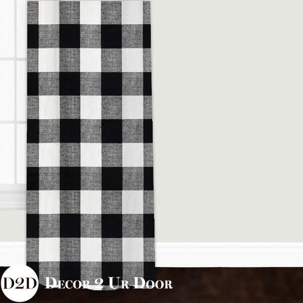 Black & White Gingham Plaid Custom Window Curtain/Closet Panel