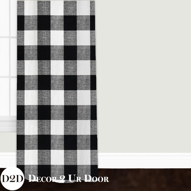 Farmhouse Black Gingham Closet + Window Curtain