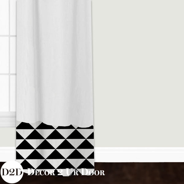 Black & White Geo Triangles Custom Window Curtain/Closet Panel