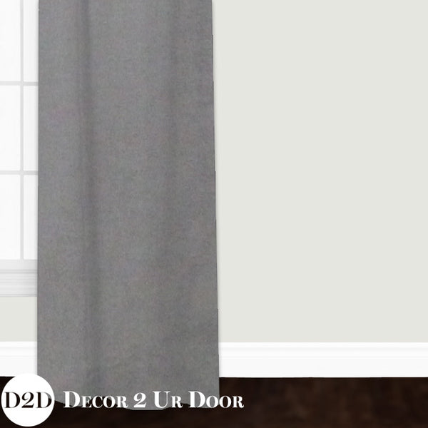 Grey Velvet Custom Window Curtain/Closet Panel