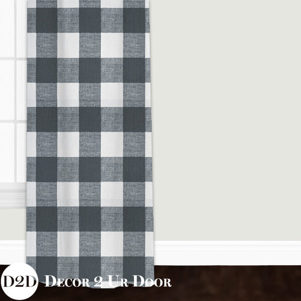 Gunmetal Gingham Closet + Window Curtain
