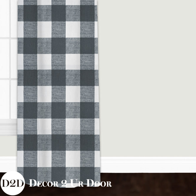 Gunmetal Gingham Plaid Custom Window Curtain/Closet Panel