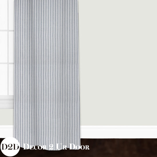 Navy & White Ticking Stripe Custom Window Curtain/Closet Panel