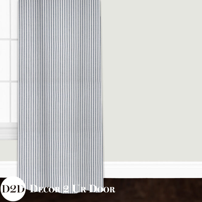 Farmhouse Navy Ticking Stripe Closet + Window Curtain