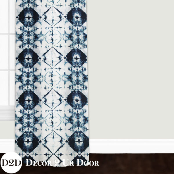 Navy & White Ombre Tribal Custom Window Curtain/Closet Panel
