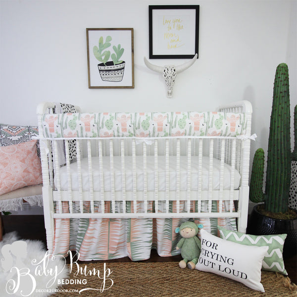 Peach & Green Cactus Baby Crib Rail Cover