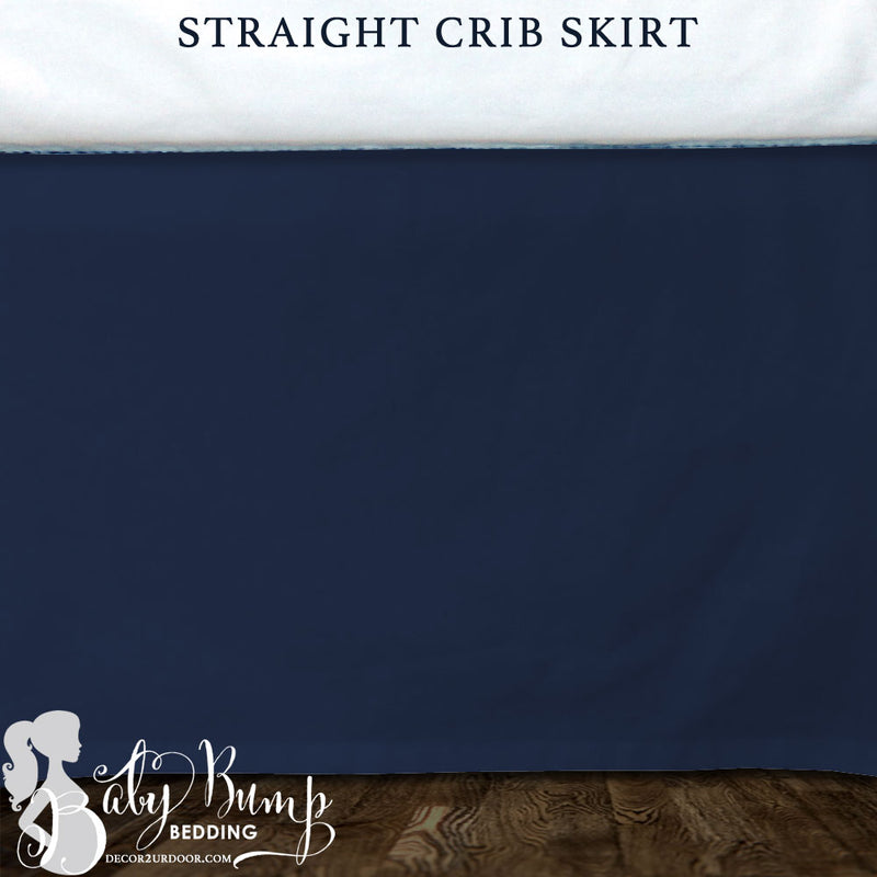 Solid Navy Blue Baby Crib Skirt