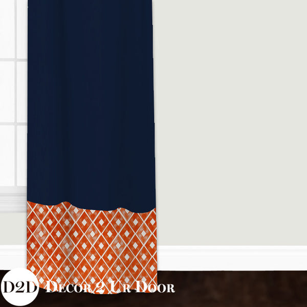 Navy & Orange Custom Window Curtain/Closet Panel