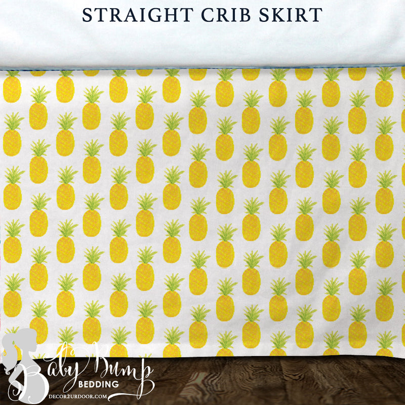 Watercolor Pineapple Baby Crib Skirt