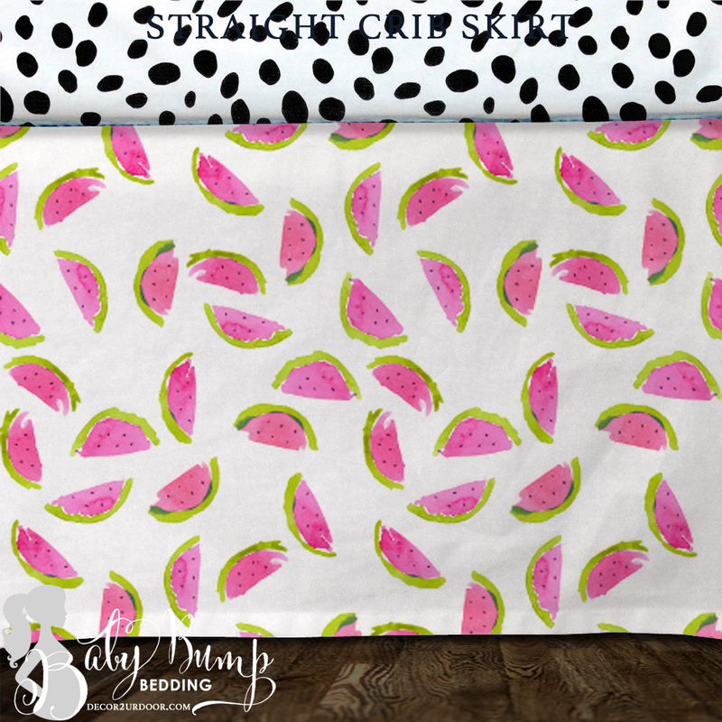 Watercolor Watermelon Baby Crib Skirt