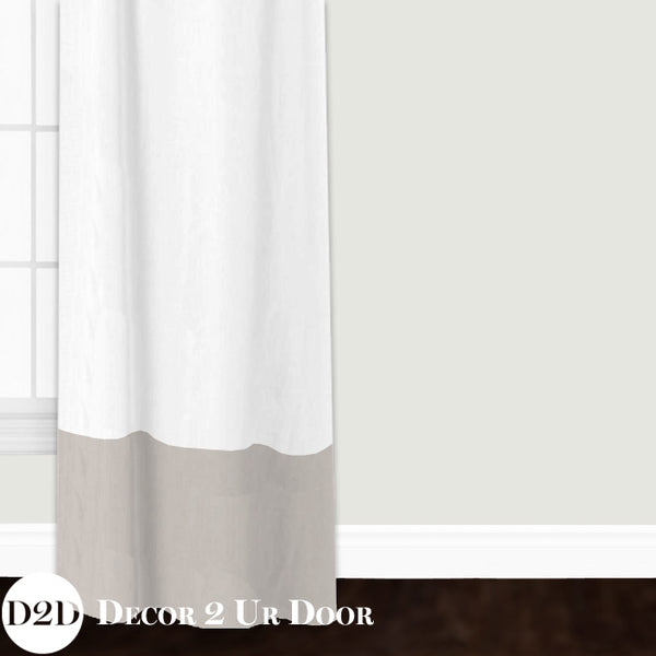 White Linen & Tan Custom Window Curtain/Closet Panel