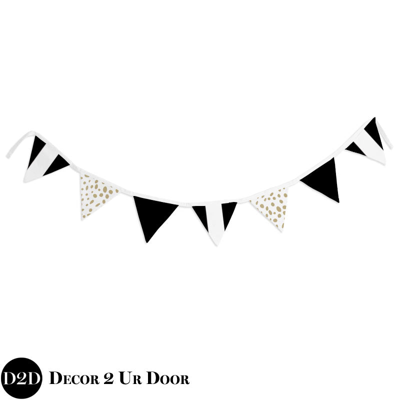 Black Stripes & Gold Dalmatian Print Wall Fabric Pennant Banner