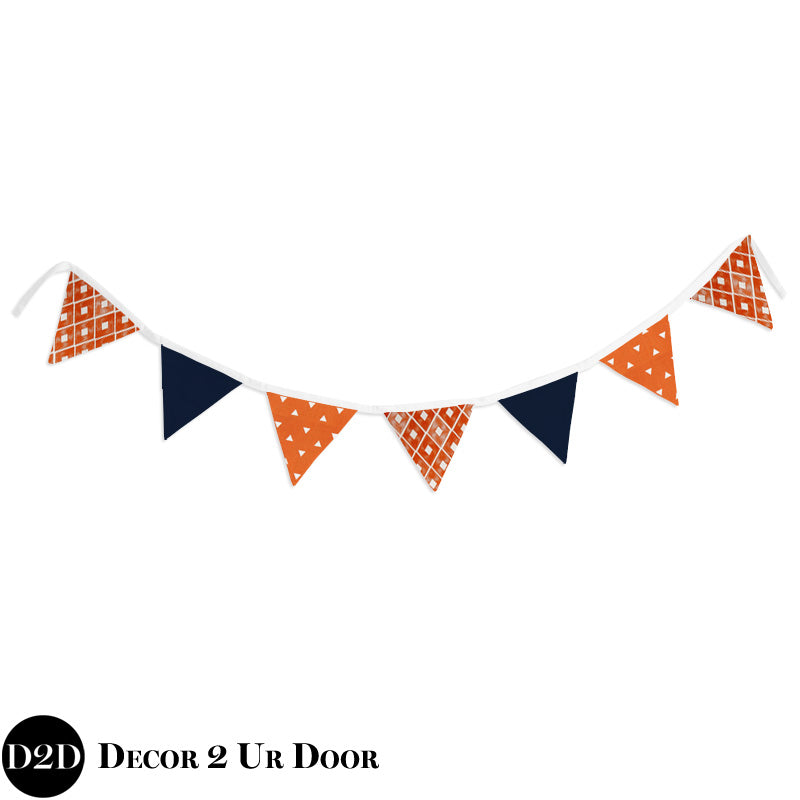 Navy & Orange Wall Fabric Pennant Banner