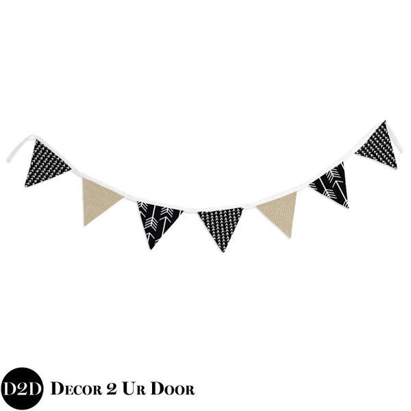 Black & Gold Wall Fabric Pennant Banner