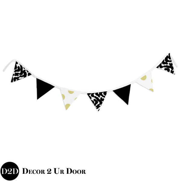 Black, White & Gold Marker Wall Fabric Pennant Banner