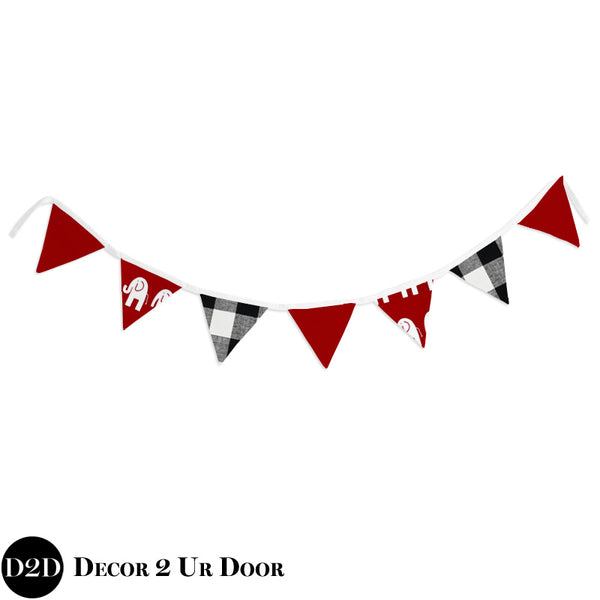 Crimson Red & Black Plaid Wall Fabric Pennant Banner
