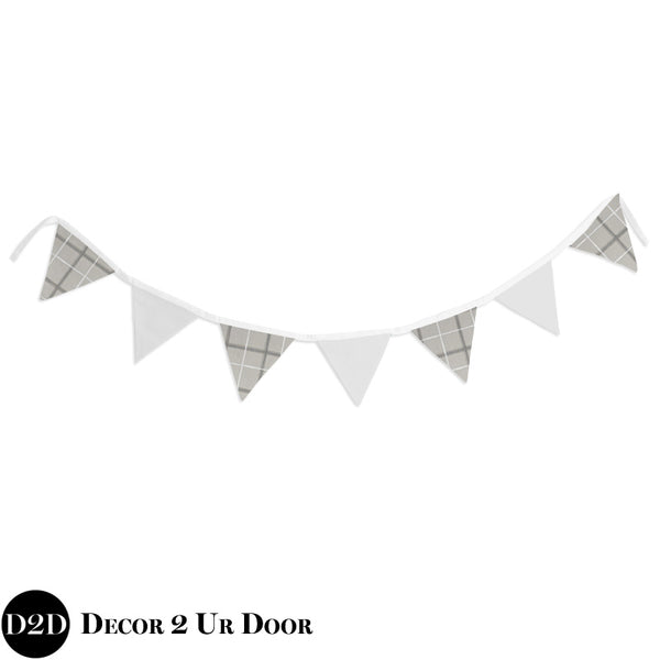 Grey Plaid & White Wall Fabric Pennant Banner
