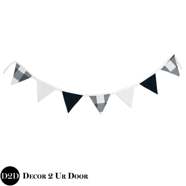 Gunmetal Gingham Plaid Wall Fabric Pennant Banner
