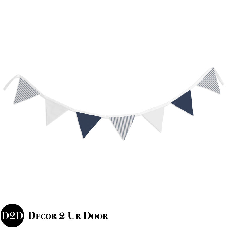 Navy & White Ticking Stripe Wall Fabric Pennant Banner