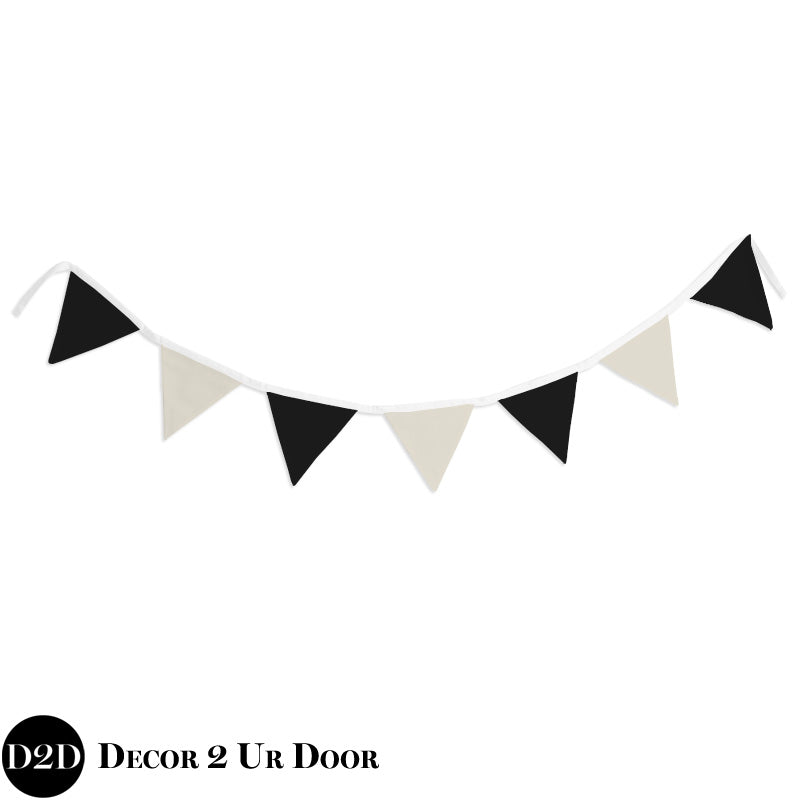 Ivory Linen & Black Wall Fabric Pennant Banner