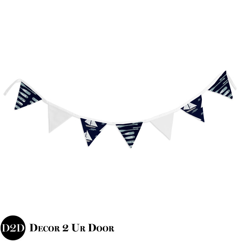 Nautical Oars and Sailboat Wall Fabric Pennant Banner