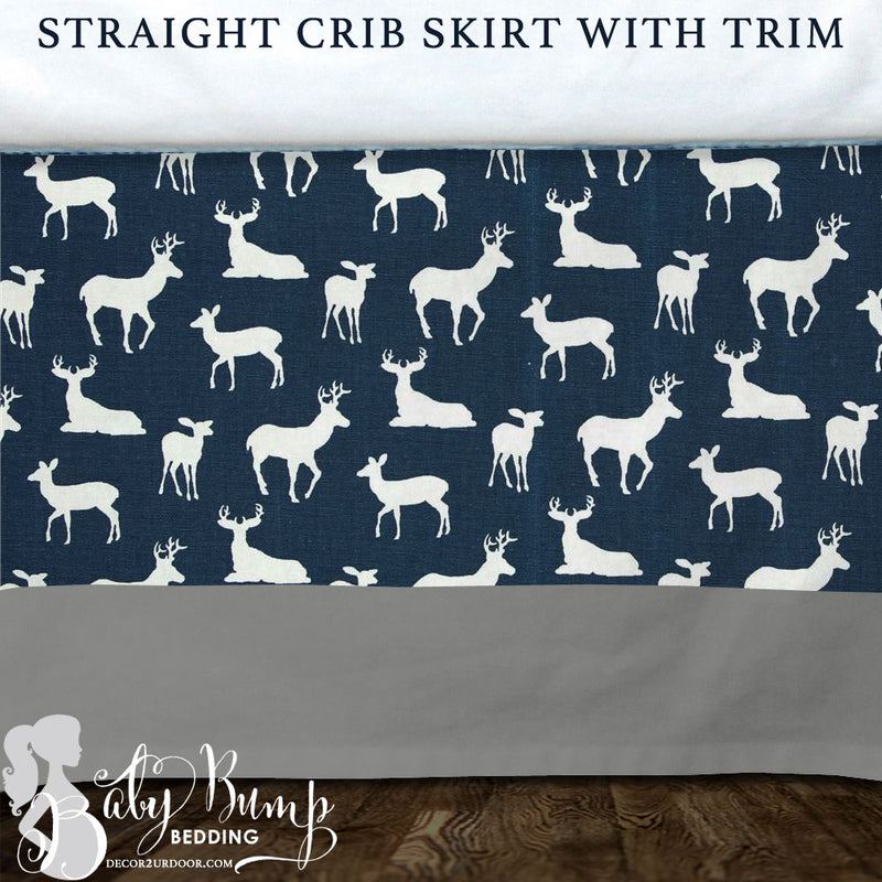 Navy Deer Woodland Baby Crib Skirt
